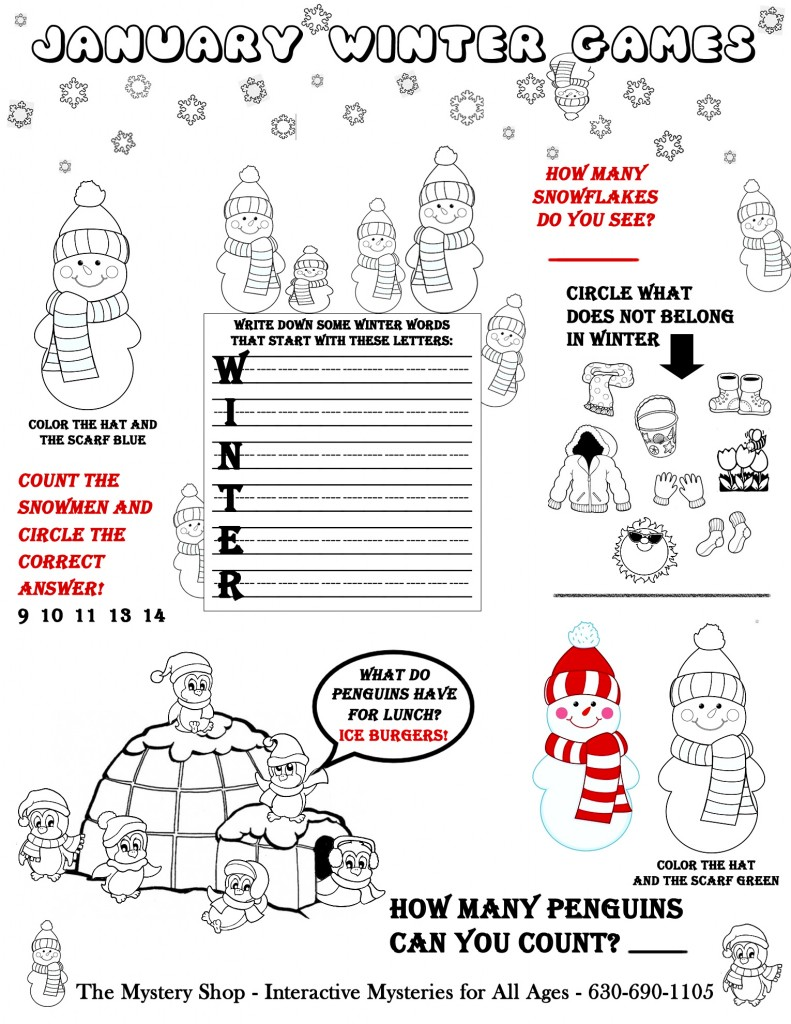 Kids' Activity Coloring Page from The Mystery Shop