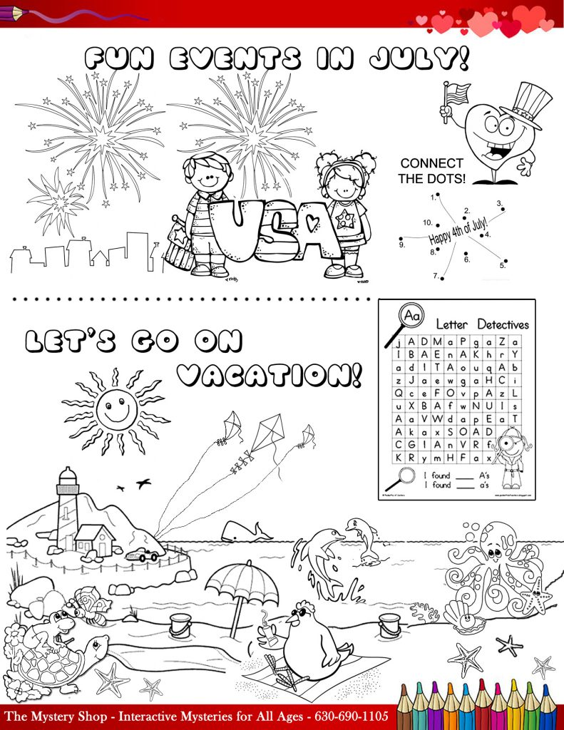 July activity page for kids